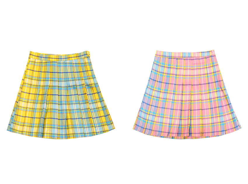 블랙피치Check Pleats Mini Skirt