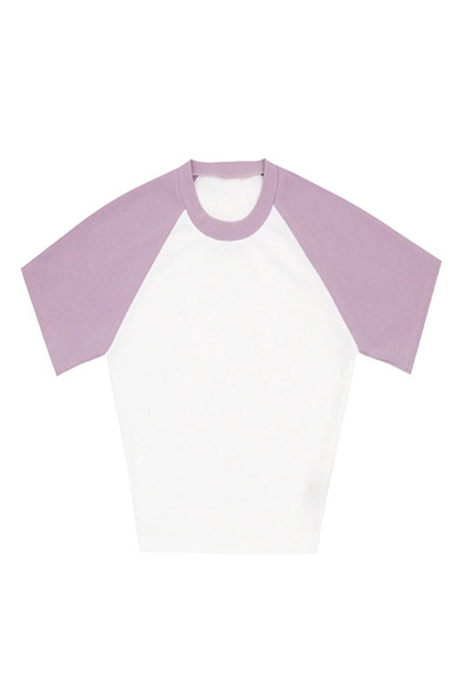 블랙피치Color Block Raglan Crop Tee
